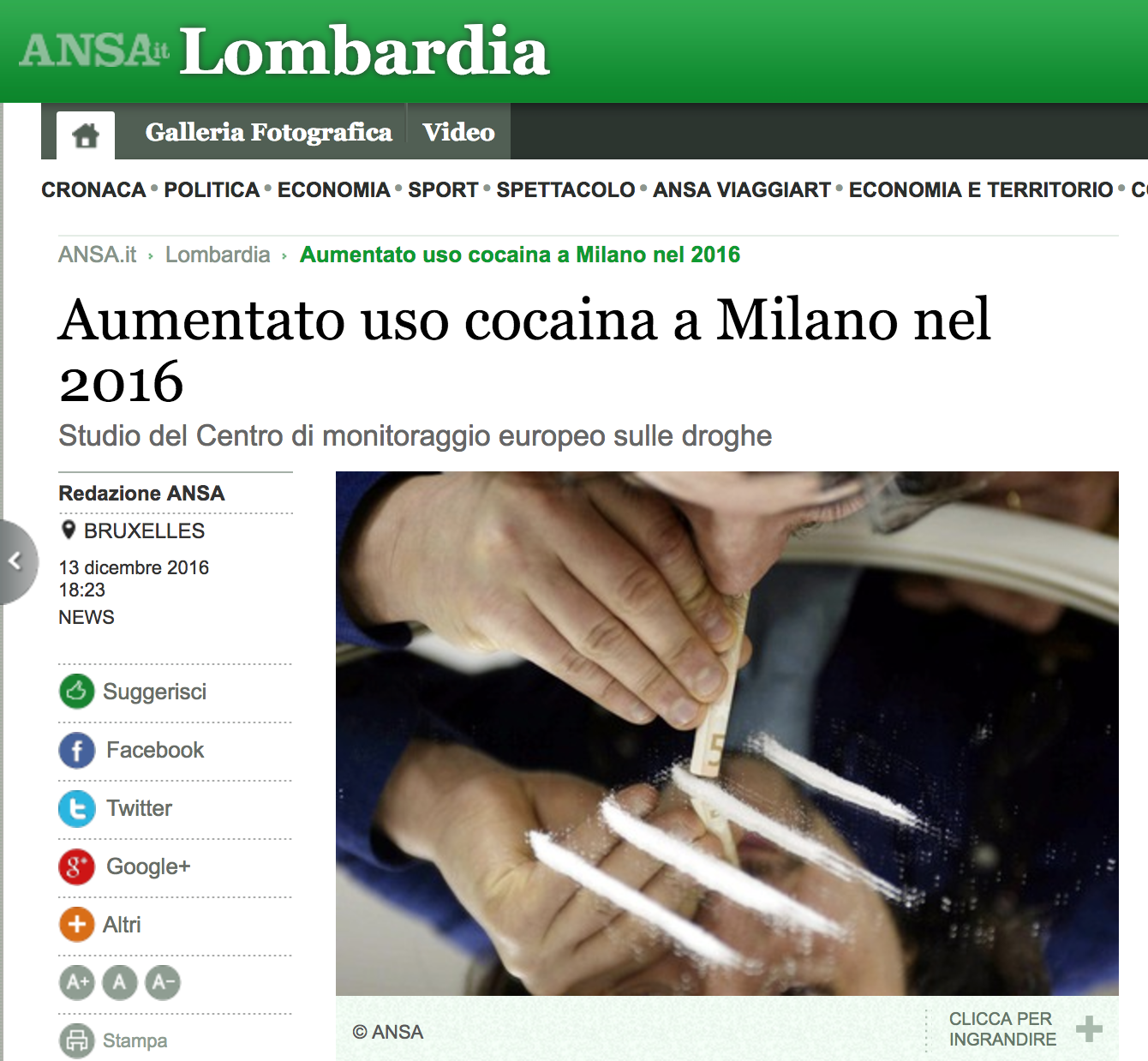 cocaina milano