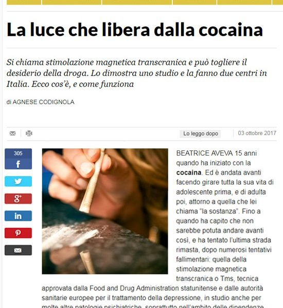 La Repubblica - TMS La luce che libera dalla cocaina