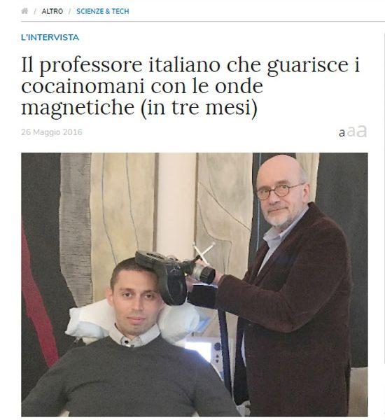 Libero Quotidiano - Il professore italiano che guarisce i cocainomani con le onde magnetiche